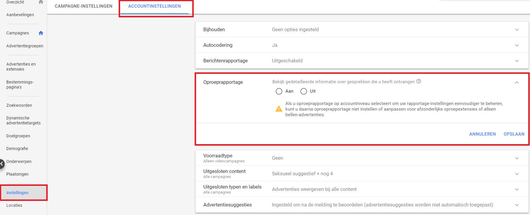 Oproeprapportage instellen op Google Ads