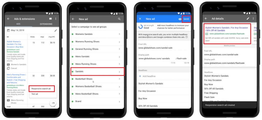 Google Ads App responsieve zoekadvertentie