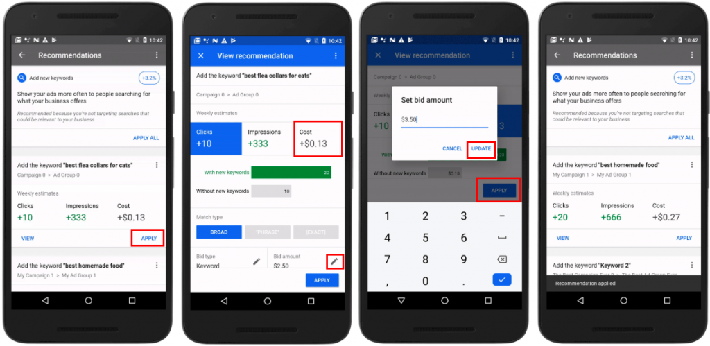 Google Ads App biedingen