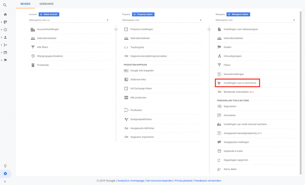 E-commerce instellen in Google Analytics