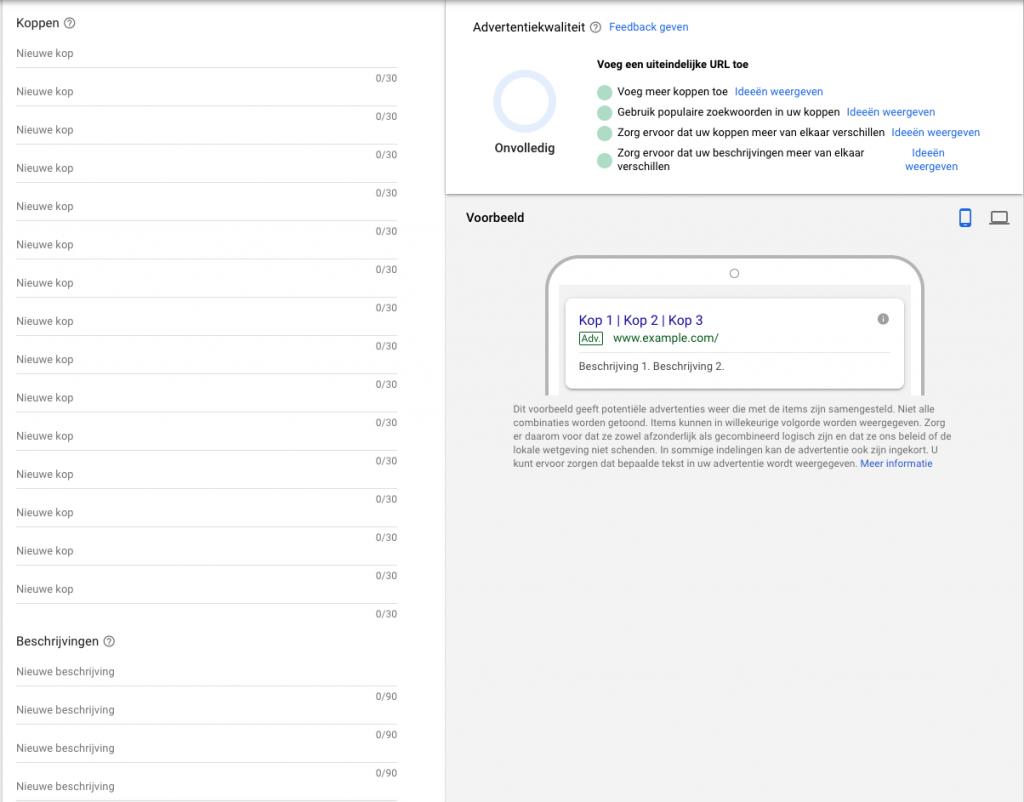 De responsieve zoekadvertentie