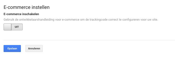 E-commerce tracking inschakelen